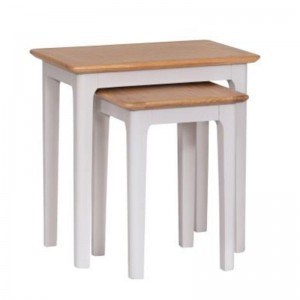 Scandinavian grey and oak nest of 2 tables