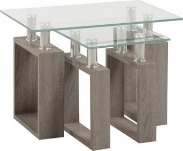Light charcoal & glass nest tables