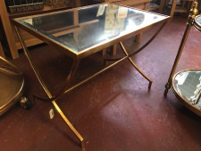 Rectangular gold mirrored small coffee table