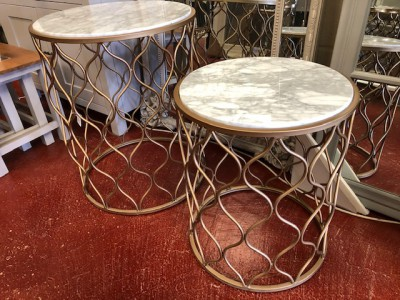 Round gold white marble small lamp table