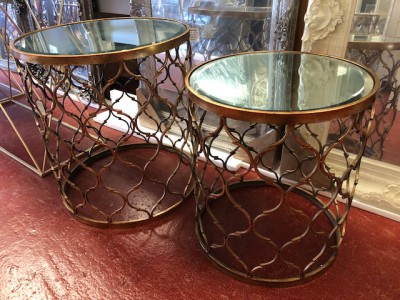 Round gold mirrored small lamp table