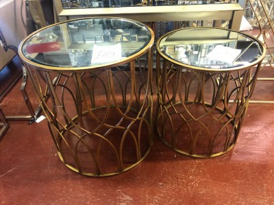 Round gold mirrored small side table