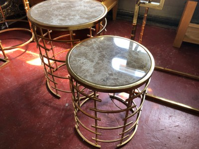 Round gold marble top large side table