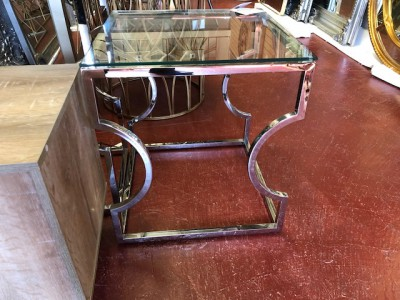 Square silver chrome glass top lamp table