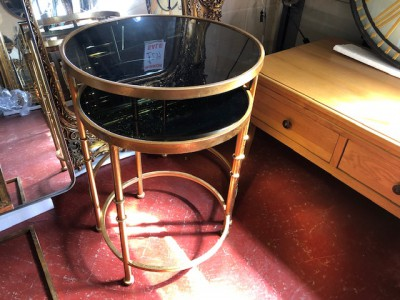 Gold round nest of 2 tables with tinted glass