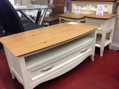 Sophia cream and oak coffee table TV unit