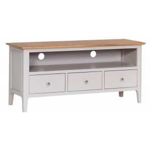 Scandinavian grey and oak large TV unit