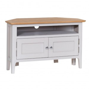 Scandinavian grey and oak corner TV unit
