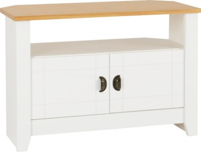 Ludlow white and wood small TV unit