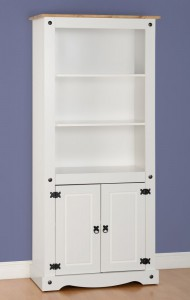 Corona tall 2 door bookcase White