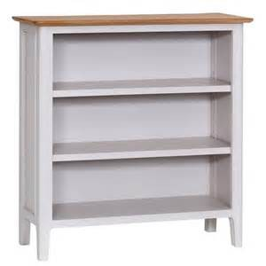 Scandinavian grey and oak small wide bookcase