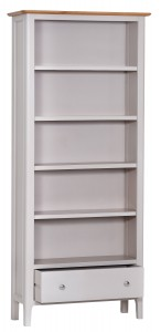 Scandinavian grey and oak large bookcase
