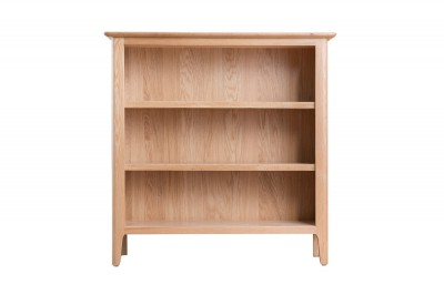 Scandinavian oak small wide bookcase