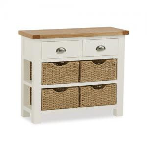 New England cream and oak console table with baskets
