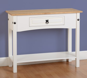 Corona Mexican pine white console table