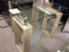 Sonoma oak effect and glass console table
