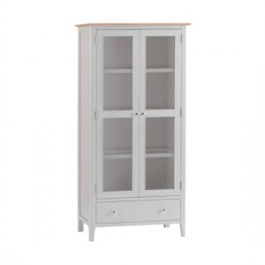 Scandinavian grey and oak display cabinet