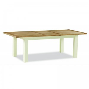 New England cream and oak compact extending dining table
