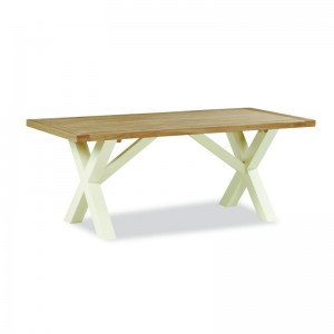 New England cream and oak Cross fixed dining table
