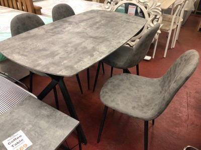 Grey stone concrete effect dining table