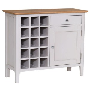 Scandinavian grey and oak wine cabinet