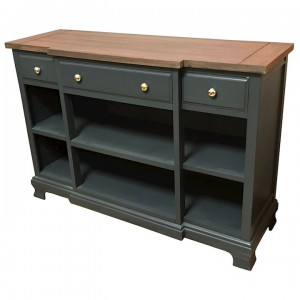 Ashton walnut and black 3 drawer low bookcase