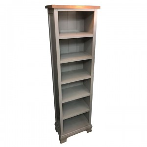 Ashton walnut and grey narrow bookcase