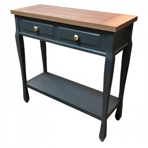 Ashton walnut and black console table with shelf