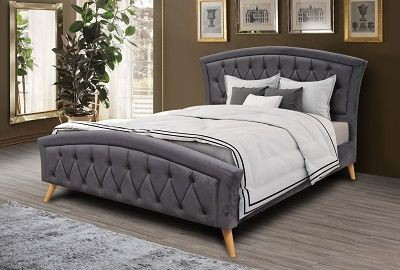 Velvet buttoned grey 4ft6 double bed