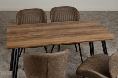 Dark industrial wave or straight dining table