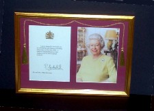 Framed Telegram from the Queen