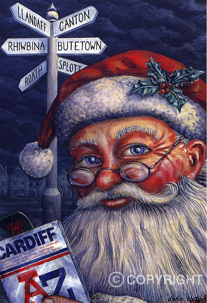 Santa comes to town Cardiff - Welsh Christmas Card