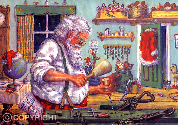 Santa''s Workshop - Welsh Christmas Card