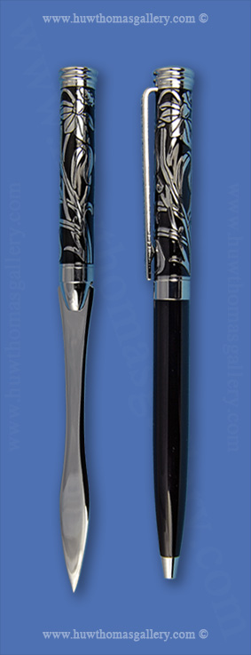 Black & Silver Daffodil Pen with Letter knife