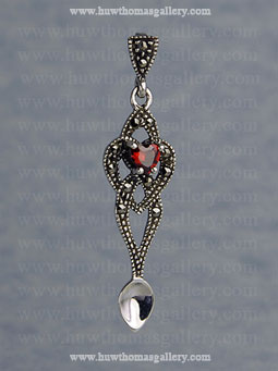 Silver Lovespoon Pendant set with Marcasite & Garnet