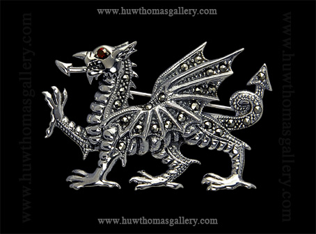 Silver Welsh Dragon Brooch set with Marcasite