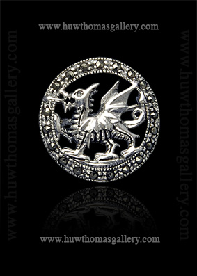 Silver Welsh Dragon Brooch set with Marcasite (round)