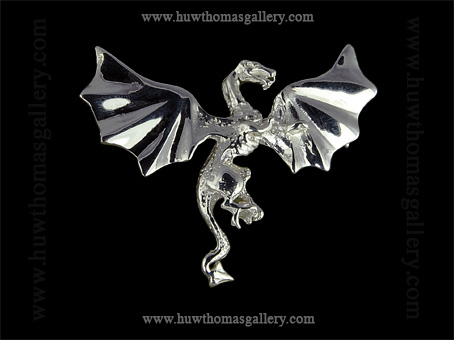 Silver Windged Dragon Brooch