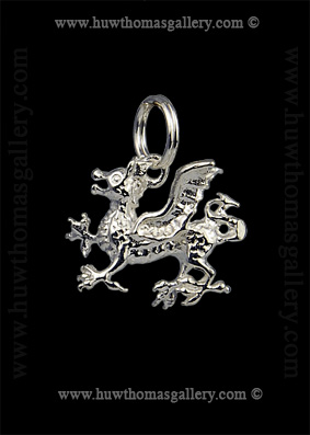 Silver Welsh Dragon Pendant / Necklace 3D