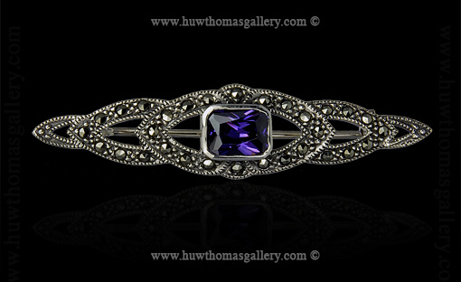 Silver Brooch set with an Amethyst Stone &  Marcasite