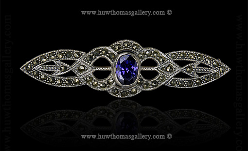 Silver Marcasite Brooch set with an Amethyst Stone