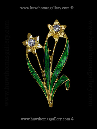 Double Daffodil Costume Brooch ( Gold & Green )