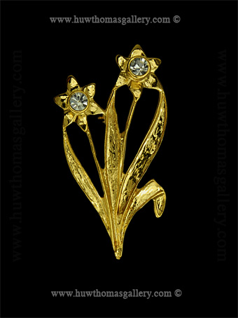 Double Daffodil Costume Brooch ( Gold )