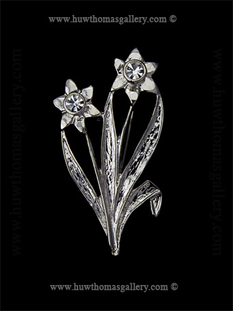 Double Daffodil Costume Brooch ( Silver )