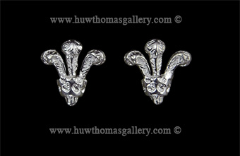 Silver Prince of Wales 3 Feather Stud Earrings