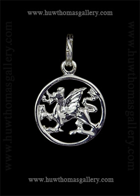 Silver Welsh Dragon Pendant / Necklace (Rround)
