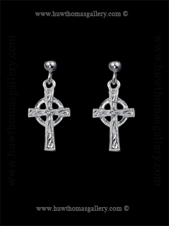 Silver Celtic Cross Earrings Small