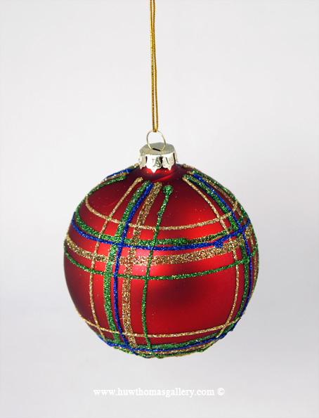 Red Christmas Tree Bauble striped with Coloured Glitter
