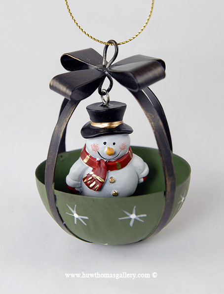 Christmas Tree Bauble with Snowman inside