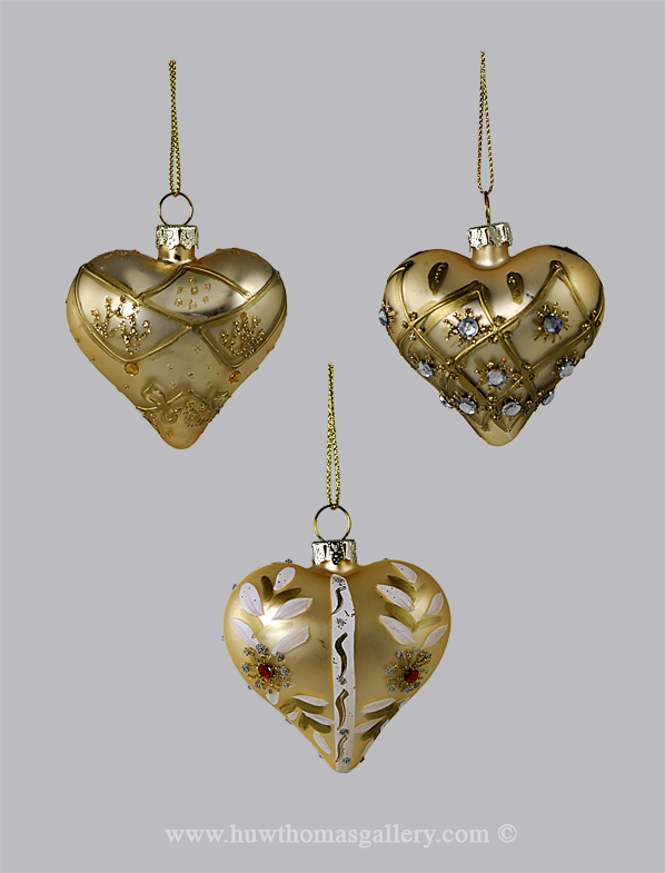 A Set of 3 Gold Heart Shaped christmas Tree Baubles